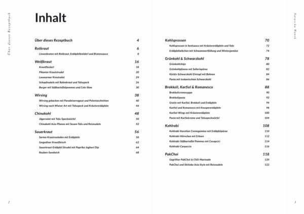 Rezeptbuch Kohl Inhaltsverzeichnis